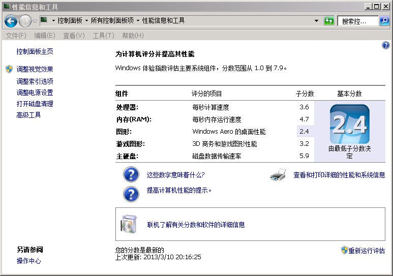 HPDC7600 Windows体验指数