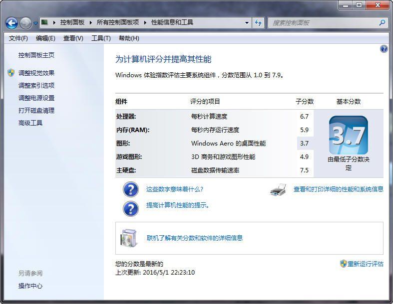 HP2540P Windows体验指数
